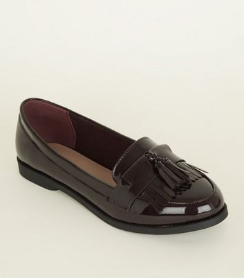 Dark Red Patent Fringe Front Loafers