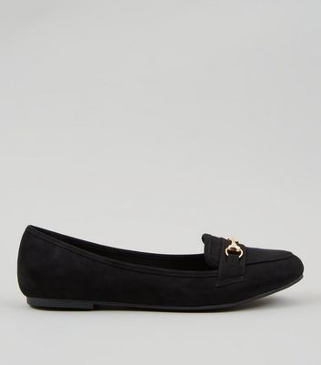Black Suedette Metal Trim Loafers