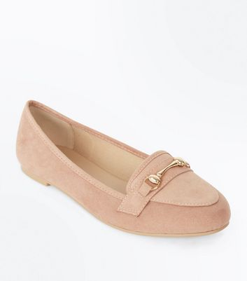 Pink Suedette Metal Trim Loafers