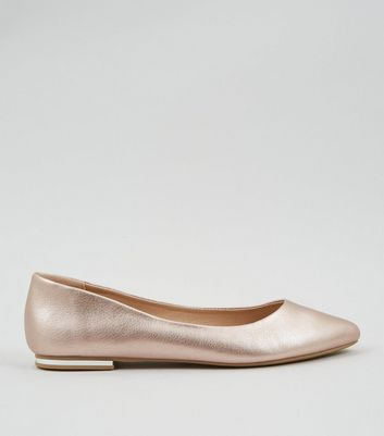 Rose Gold Metal Heel Pointed Pumps