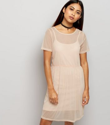 Petite Shell Pink Mesh Smock Dress