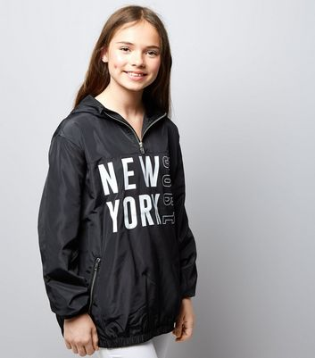 Teens Black New York Print Half Zip Hooded Jacket