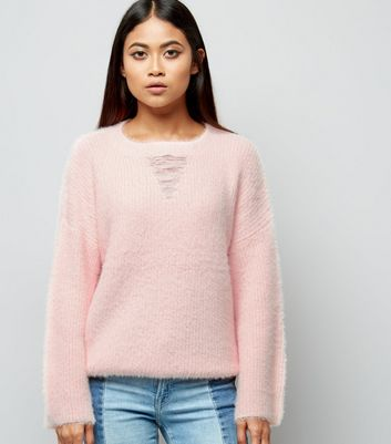 Petite Shell Pink Ladder Front Flare Sleeve Jumper
