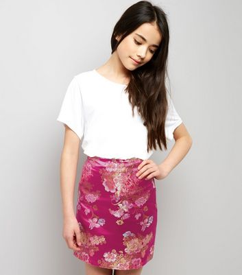 Teens Pink Floral Jacquard Mini Skirt