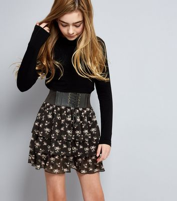 Teens Black Floral Layered Frill Lace-Up Skirt