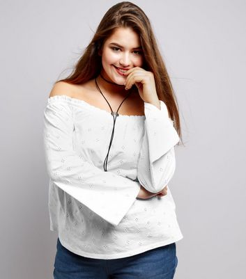 Curves White Broderie Bardot Neck Top