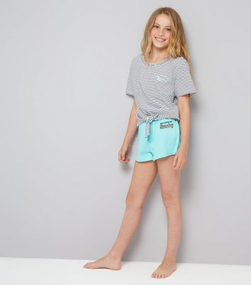 Teens Mint Green Stripe Sunday Slogan Pyjama Set