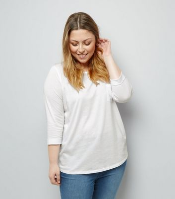 Curves White 3/4 Sleeve Single Pocket Top
