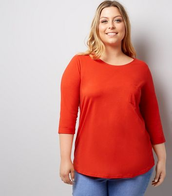 Curves Red 3/4 Sleeve Single Pocket Top