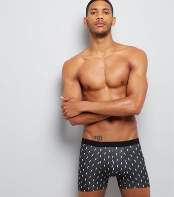 3 Pack Black Printed Boxer Briefs