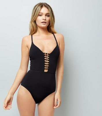 Black Plunge Lattice Front Swimsuit
