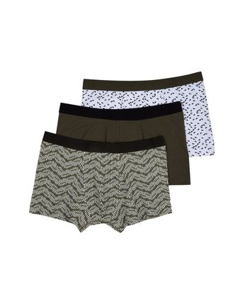 3 Pack Khaki Printed Trunks