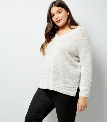 Curves Grey V Neck Ribbed Jumper