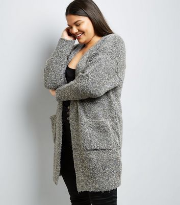 Curves Grey Boucle Cardigan