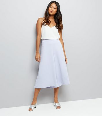 Petite Lilac Wide Leg Cropped Trousers