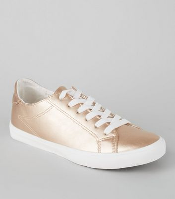 Rose Gold Metallic Lace Up Trainers