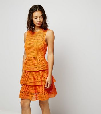 Petite Orange Premium Tiered Lace Dress