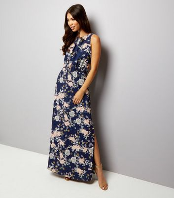 Mela Navy Floral Print Sleeveless Maxi Dress