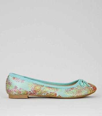 Mint Green Satin Floral Brocade Ballet Pumps