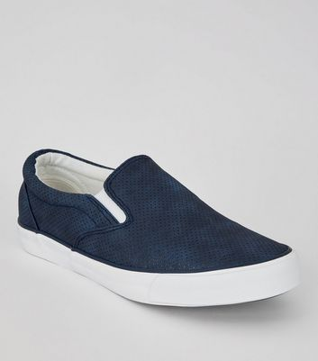 Navy Suedette Perforated Slip On Trainers