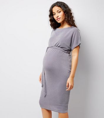 Maternity Grey Metallic Belted Midi Dress