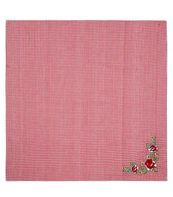 Red Gingham Floral Embroidered Bandana