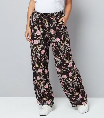 Maternity Black Floral Print Wide Leg Trousers