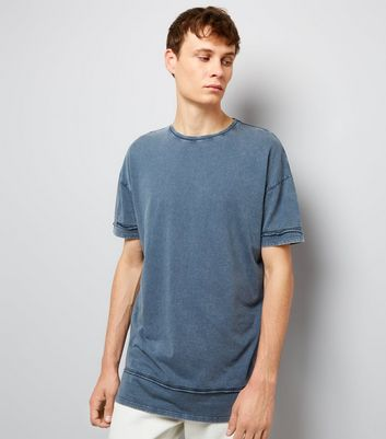 Blue Acid Washed Seam Detail T-Shirt