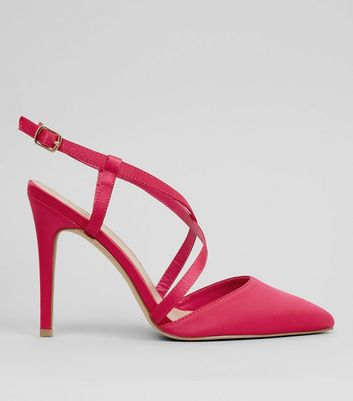 Wide Fit Pink Satin Cross Strap Pointed Heels