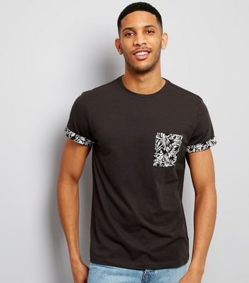 Grey Palm Print Pocket T-Shirt
