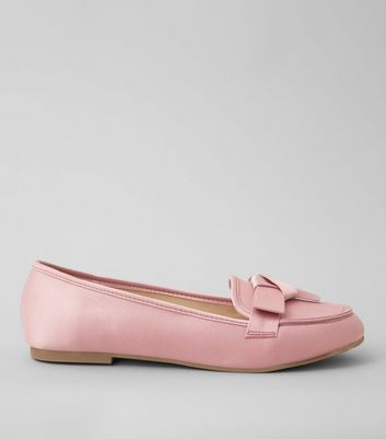 Pink Satin Bow Front Loafers