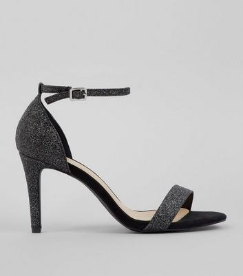 Wide Fit Black Glitter Heeled Sandals