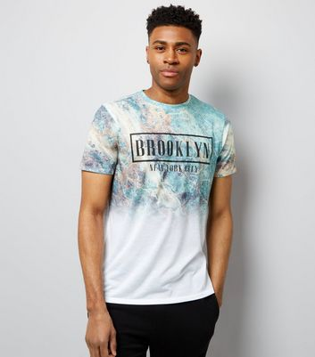 White Brooklyn Marble Print T-Shirt