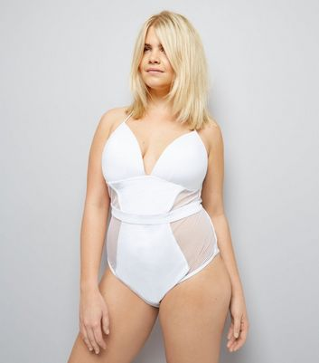 Curves White Mesh Panel Halter Neck Swimsuit