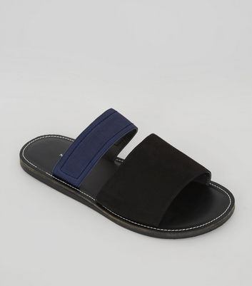 Black Contrast Elasticated Strap Sandals