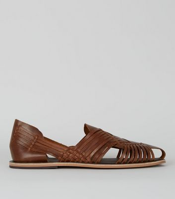 Brown Leather Woven Huarache Sandals