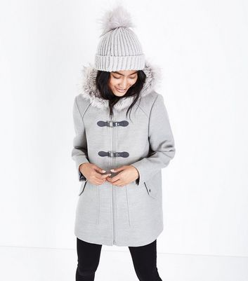 Pale Grey Faux Fur Trim Duffle Coat | New Look