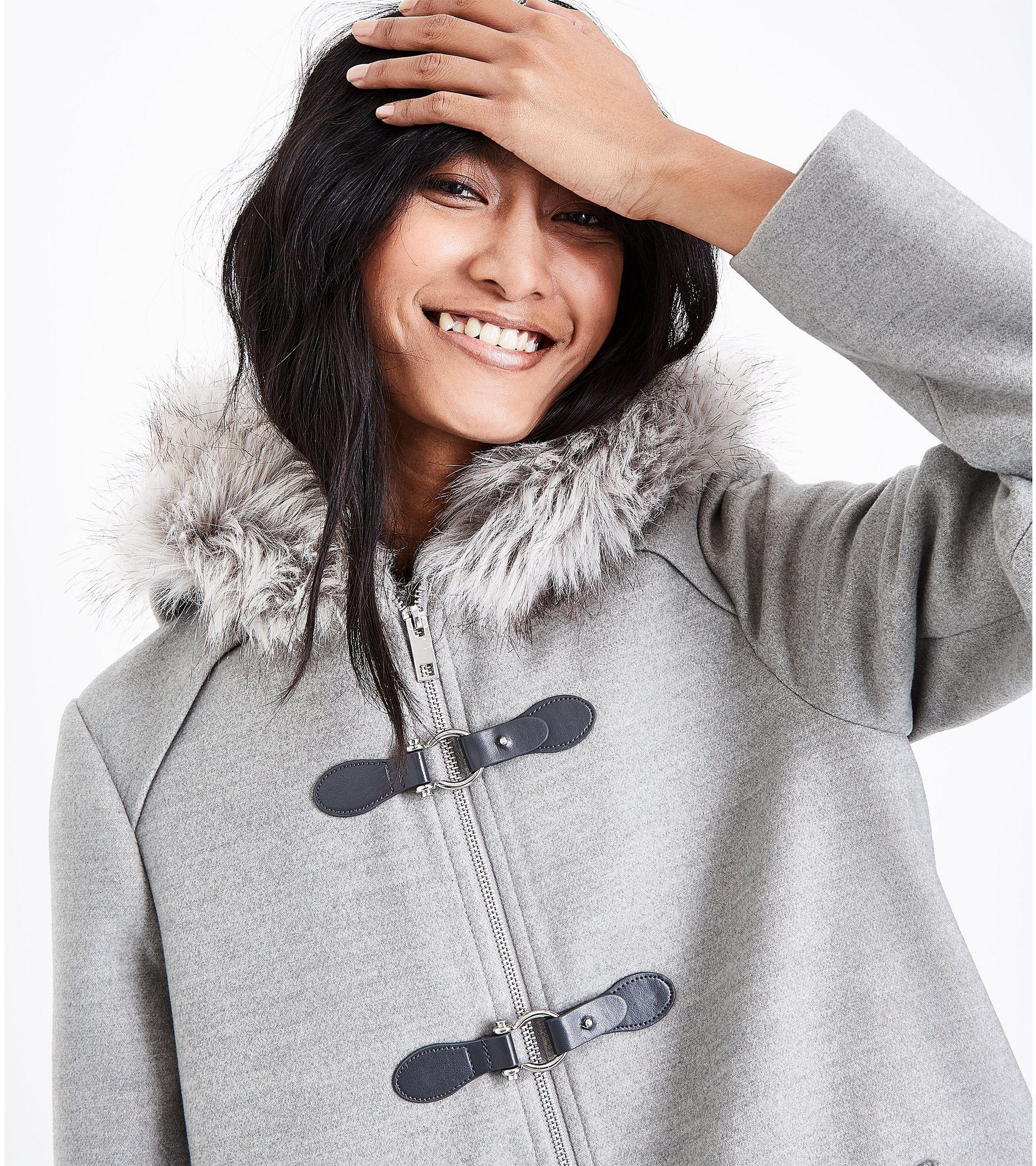 710155f08299 New Look Pale Grey Faux Fur Trim Duffle Coat at £34.99 | love the brands