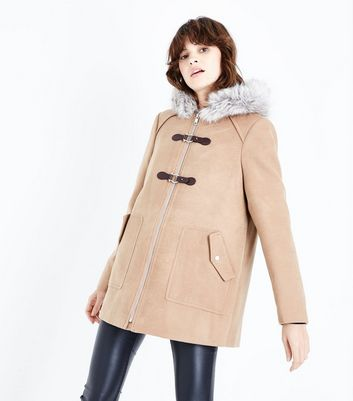 Camel Faux Fur Trim Duffle Coat
