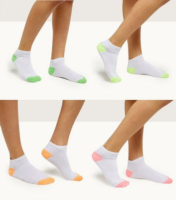 4 Pack White Neon Trim Trainer Socks