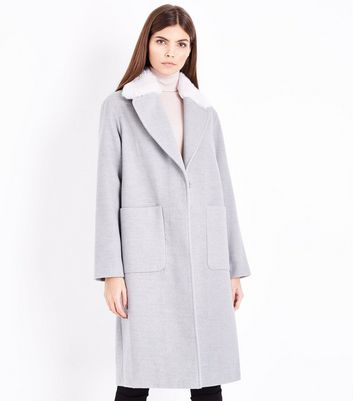 Grey Faux Fur Collar Longline Coat