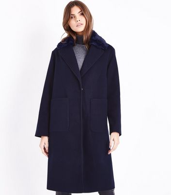 Navy Faux Fur Collar Longline Coat