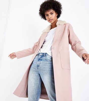 Shell Pink Faux Fur Collar Longline Coat