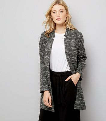 Charcoal Brushed Jersey Longline Jacket