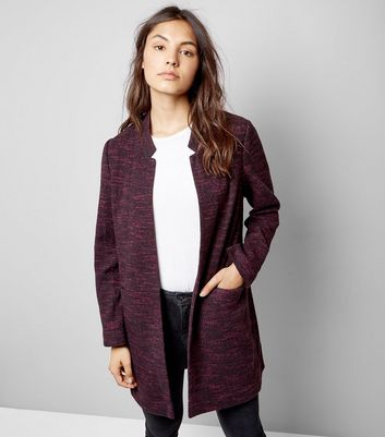 Burgundy Brushed Jersey Longline Jacket