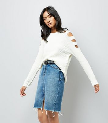 White Cut Out Shoulders Longline Jumper