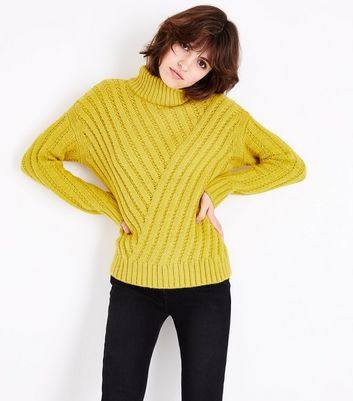 Green Funnel Neck Step Hem Ribbed Jumper