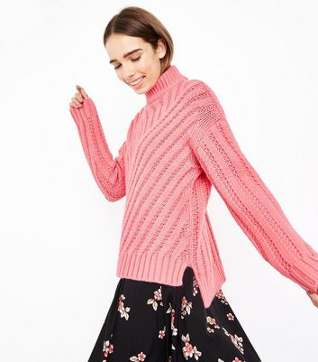 Pink Funnel Neck Step Hem Ribbed Jumper