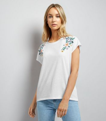 White Floral Embroidered Trim Top
