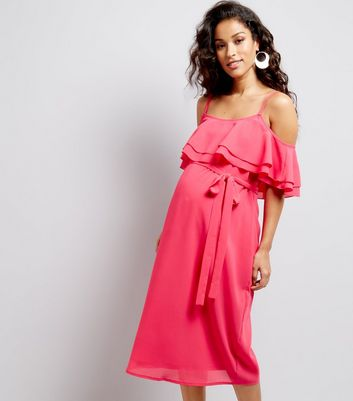 Maternity Bright Pink Frill Trim Cold Shoulder Midi Dress